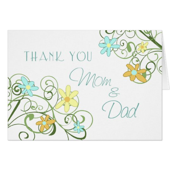 Garden Flowers Parents Wedding Day Thank You Card