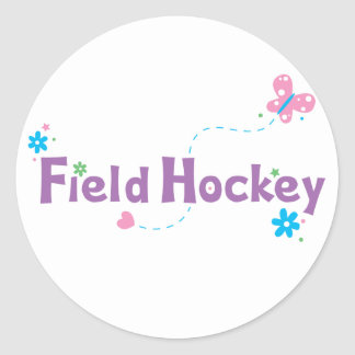 Garden Flutter Field Hockey Classic Round Sticker