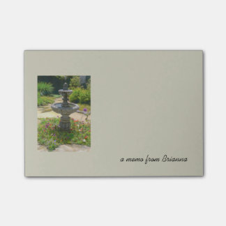 Garden Fountain Drawing and text memo template Post-it Notes
