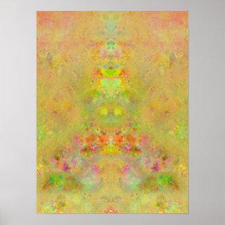 Garden Fountain Impressionist Fractal Poster
