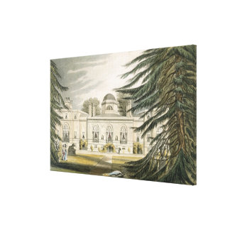 Garden front of Chiswick House (colour engraving) Canvas Print