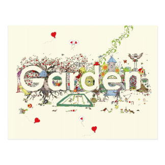 Garden funny creative text novelty art postcard