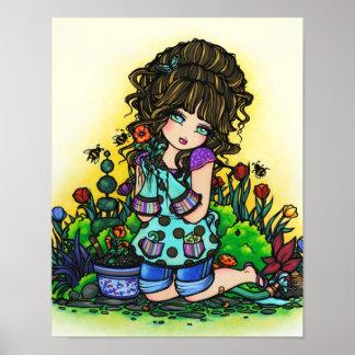 Garden Girl Bumblebee Tulip Art by Hannah Lynn Poster