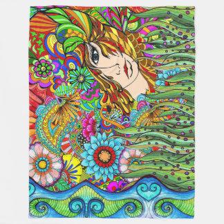 Garden girl Fleece Blanket