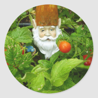 garden gnome #1-Stickers Classic Round Sticker