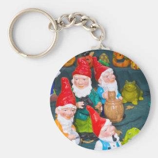 Garden gnome basic round button key ring