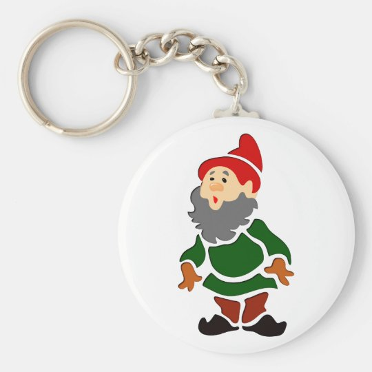 Garden gnome dwarf guards of gnomes basic round button key ring
