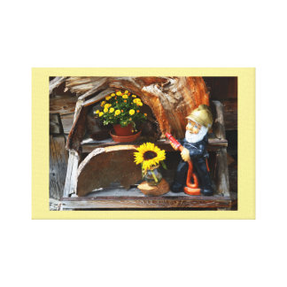 Garden gnome fireman canvas print