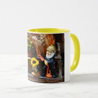 Garden gnome fireman mug