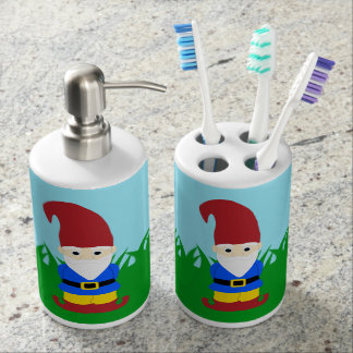 Garden Gnome Soap Dispenser And Toothbrush Holder
