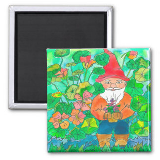 Garden Gnome Watercolor Flowers Square Magnet