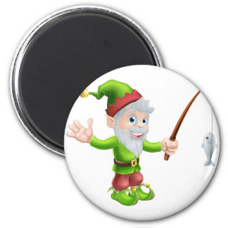 Garden gnome with fishing rod 6 cm round magnet
