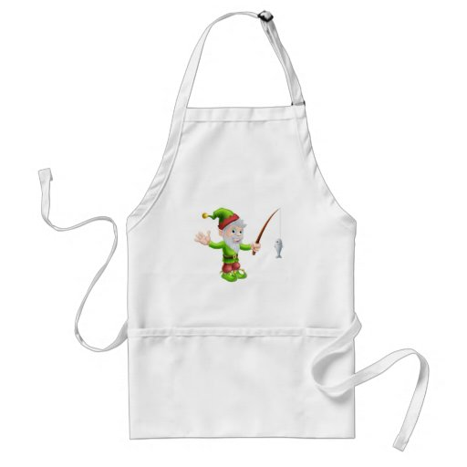 Garden gnome with fishing rod apron