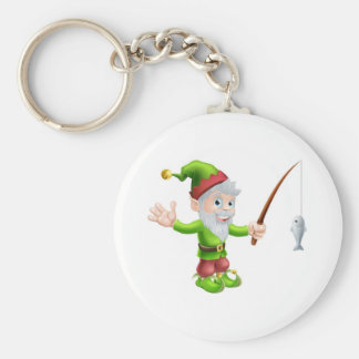 Garden gnome with fishing rod keychains