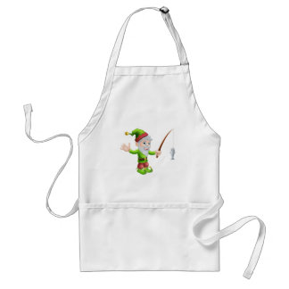 Garden gnome with fishing rod standard apron