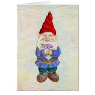 Garden Gnome with Flower card