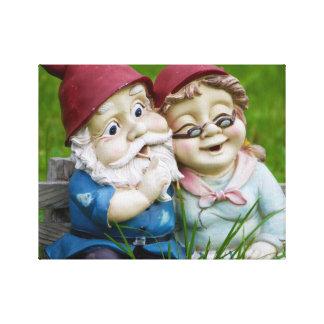 Garden Gnomes Couple Canvas Print