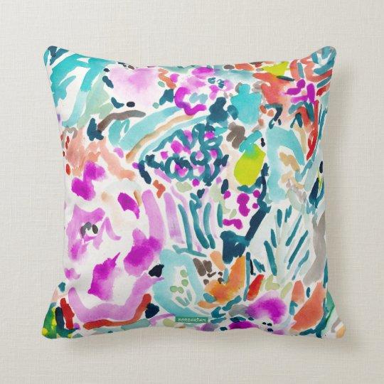 GARDEN GRAVY Colourful Watercolor Floral Throw Pillow