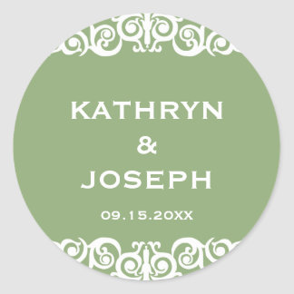 Garden green Victorian scroll wedding favor label Round Sticker