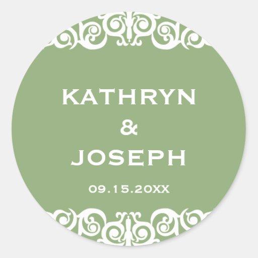Garden green Victorian scroll wedding favor label Sticker