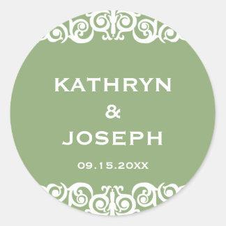 Garden green Victorian scroll wedding favour label Round Sticker