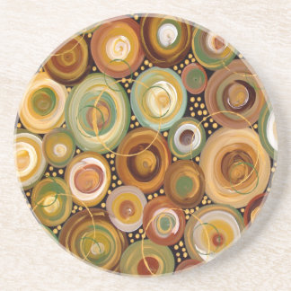 Garden Greens Abstract  Art Painting Coasters