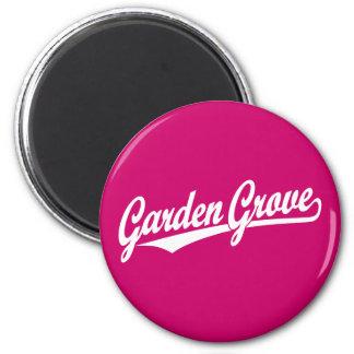 Garden Grove script logo in white Magnets