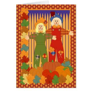 Garden halloween scarecrow card