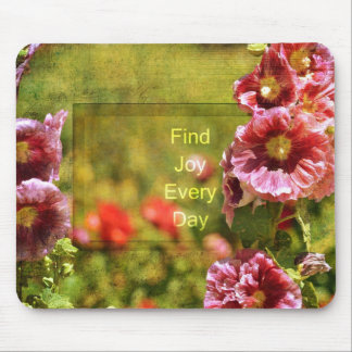 Garden Hollyhock Floral Joy Mouse Mat