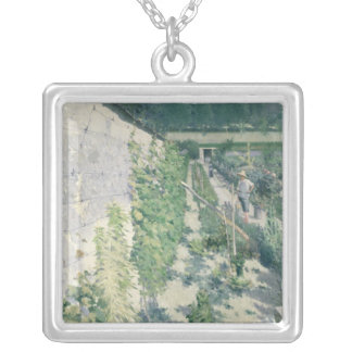 Garden in Grez, 1884 Silver Plated Necklace