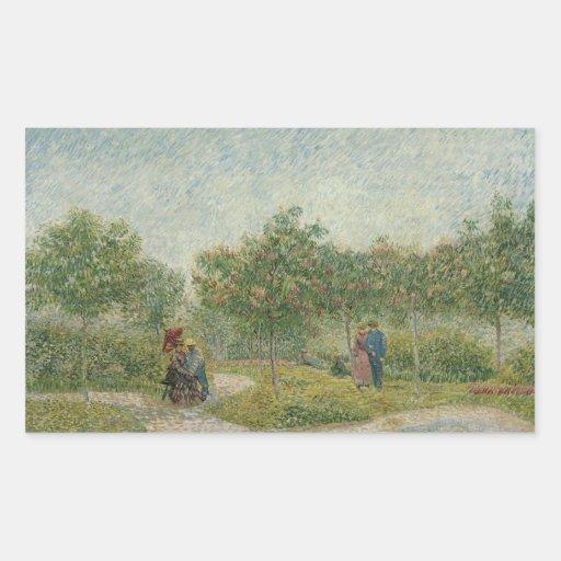 Garden in Montmartre with lovers Rectangular Stickers