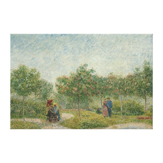 Garden in Montmartre with lovers Stretched Canvas Print