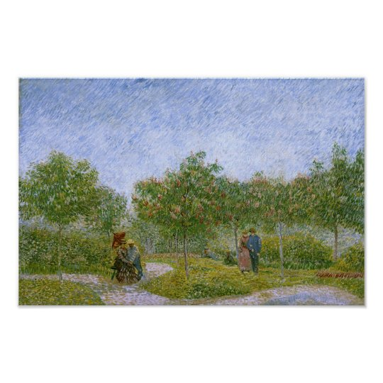 Garden in Montmartre with Lovers, Vincent van Gogh Poster