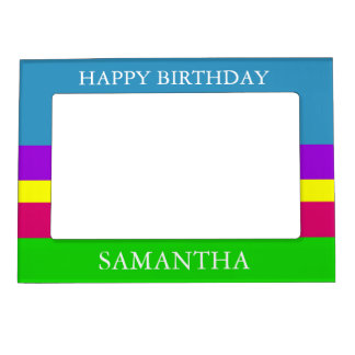 Garden in Spring Palette Stripe Personalized Magnetic Picture Frame