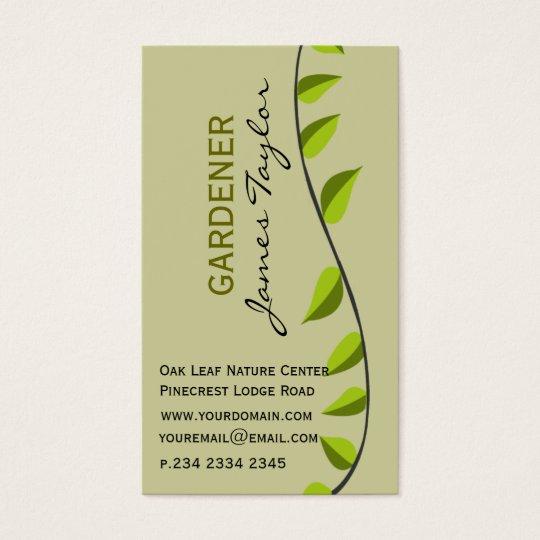 Garden Leaf Gardening Green Professional Business Card