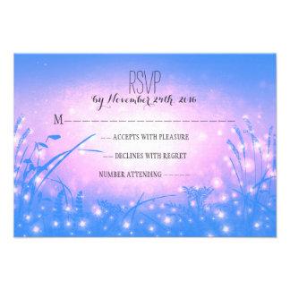garden lights blue wedding RSVP cards