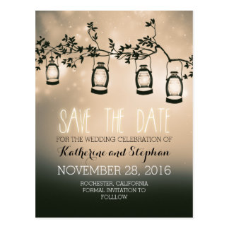 garden lights - lanterns rustic save the date postcard