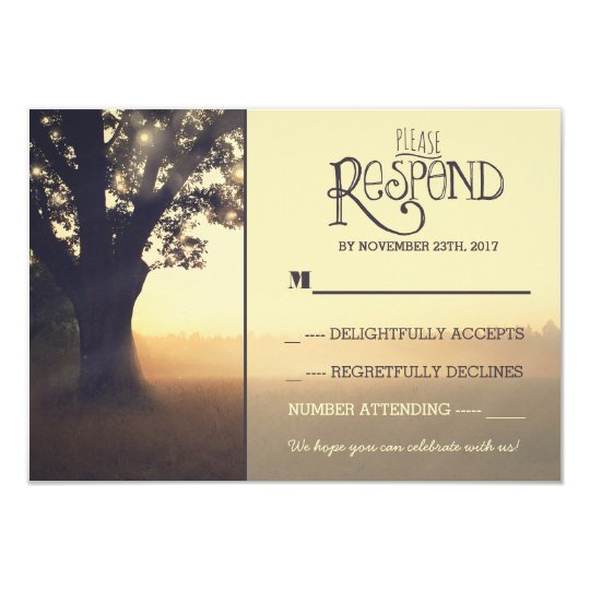 Garden lights tree rustic wedding RSVP Card