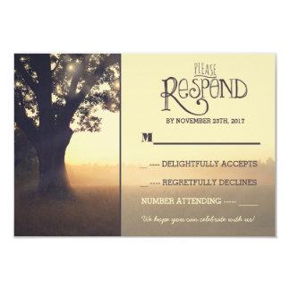 "Garden lights tree rustic wedding RSVP 3.5"" X 5"" Invitation Card"