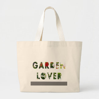 Garden Lover Floral Text Red White Green Jumbo Tote Bag