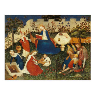 Garden of Eden medieval artist Postcard