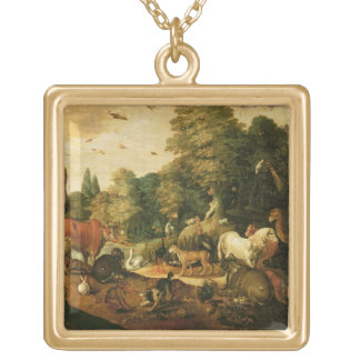 Garden of Eden (oil on canvas) Gold Plated Necklace