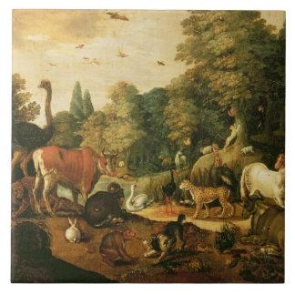 Garden of Eden (oil on canvas) Large Square Tile