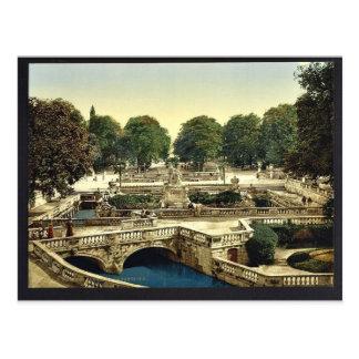 Garden of the Fountains, Nimes, France vintage Pho Postcard