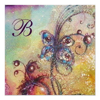 GARDEN OF THE LOST SHADOWS,BUTTERFLY Monogram Gold Card