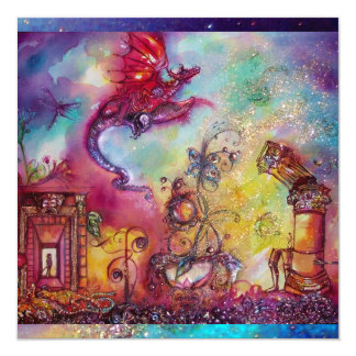 GARDEN OF THE LOST SHADOWS -FLYING RED DRAGON 13 CM X 13 CM SQUARE INVITATION CARD
