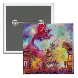 GARDEN OF THE LOST SHADOWS -FLYING RED DRAGON 15 CM SQUARE BADGE
