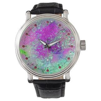 GARDEN OF THE LOST SHADOWS - Pink Purple Aqua Blue Wristwatch