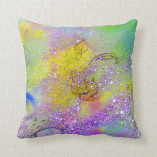GARDEN OF THE LOST SHADOWS -yellow, purple violet Throw Pillow