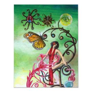 GARDEN OF THE MELISSA 2, black red ,pink green 11 Cm X 14 Cm Invitation Card
